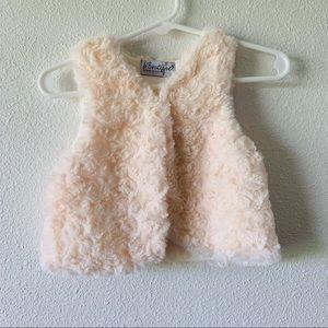 B. Boutique Rosette Fur Baby Vest Pale Blush Pink